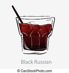 basé, russe, dessert, liqueur., cahloa, cocktail, alcoolique, vodka, brun, cocktail., café noir