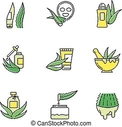 basé, vera, lotion., vert, set., cosmétique, essence., juice...
