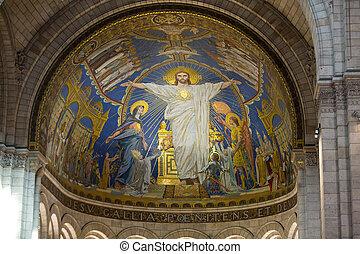 basílica, coeur, parís, francia, interior, montmartre,...