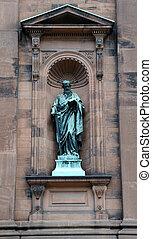 basílica, estatua, pennyslvania, filadelfia, exterior,...