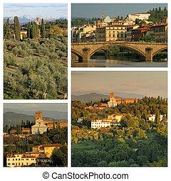 basílica, grupo, colinas, imágenes, florentino, miniat, san