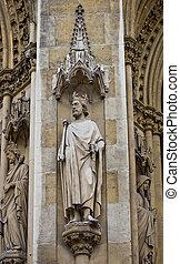 basílica, parís, s., clotilde, estatua, clovis