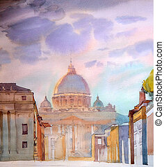 basílica, pintado, italy., roma, sant, pietro, acuarela