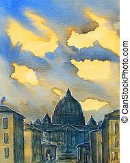 basílica, pintado, italy., roma, sant, pietro, acuarela, vaticano