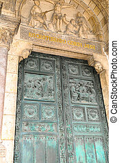 basílica, puerta, parís, coeur, frente, sacre