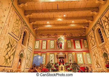 basílica, viejo, altar, misión, cruz, solvang, california,...