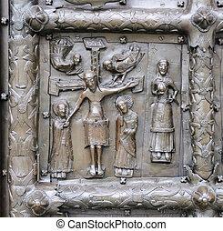 bas - レリーフ, 古代, キリスト, いいえ, イエス・キリスト, veliky, 門, 銅