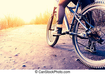 bas affichage angle, de, cycliste, équitation, vélo tout terrain