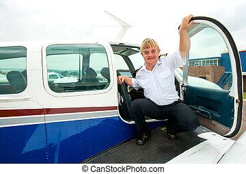 bas, aircraft., pilote, syndrome, jeune