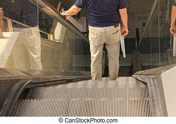 bas, aller, escalator