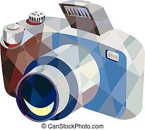 bas, appareil photo, polygone, dslr