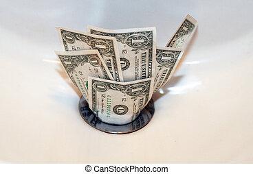 bas, argent, drain