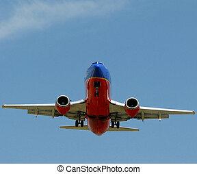 bas., avion, engrenages, atterrissage, 737