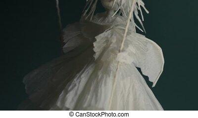 bas, balançoire, ange blanc, vient