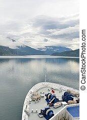 bas, bateau, fjord, titre, croisière