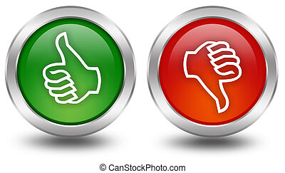 bas, boutons, vote, pouce haut