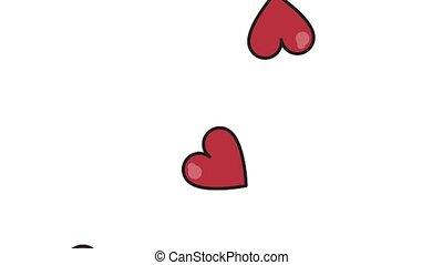 bas, cœurs, tomber