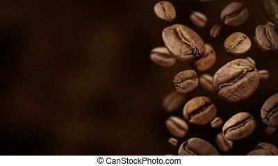 bas, café, sombre, arrière-plan., haricots, rôti, devant,...