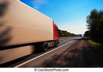 bas, camion, route, conduite