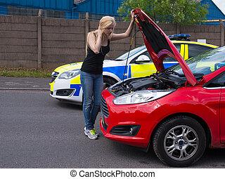 bas, cassé, assistance, femme, police