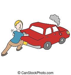 bas, cassé, pousser, homme, voiture
