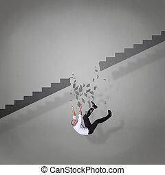 bas, cassé, tomber, escalier, homme affaires