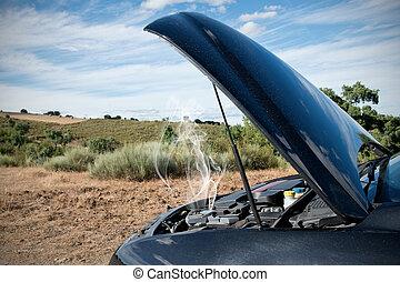 bas, cassé, voiture