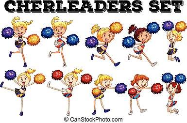 bas, cheerleaders, sauter, pompom, haut