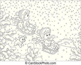 bas colline, petit, sledding, neige, enfants