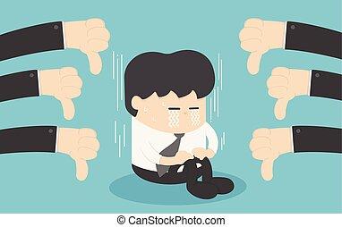 bas, concept, autour de, business, beaucoup, him., pouces, mains, homme affaires, compliment