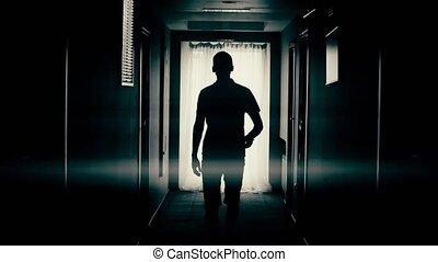 bas, couloir, homme promenade
