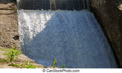 bas, déversoir, couler, chutes, eau, river.