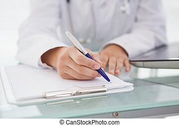 bas, docteur médical, note écriture
