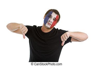 bas, drapeau, pouces, francais