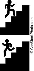 bas, escaliers haut