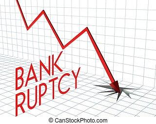 bas, faillite, diagramme, flèche, crise