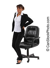 bas, femme affaires, long, assis