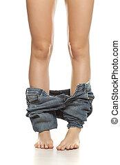 bas, femme, elle, pantalon