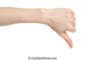 bas, femme, pouce, main