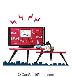 bas., flèche, dynamique, vecteur, illustration., graphe tombant, négatif, finance, ?hart, crise, décrire, business, moniteur