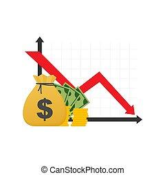 bas flèche, stocks, argent, concept, crise, automne, bankruptcy., espèces, graphique financier, marché, illustration., loss., vecteur