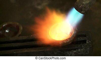 bas, fondre, goldsmith, -, métal