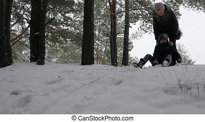 bas, girl, colline, sledding, 96fps