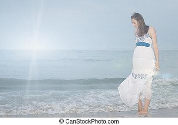 bas, girl, plage, stands, regarde