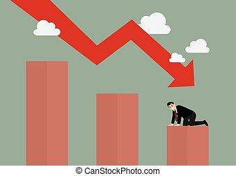 bas, graphique, barre, hommes affaires, désespéré