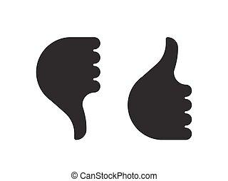 bas, haut, icône, pouce, main