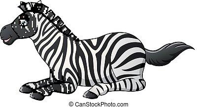 bas, heureux, zebra, dessin animé, poser
