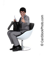 bas, homme affaires, serviette, assis