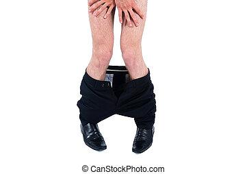bas, homme, business, pantalon