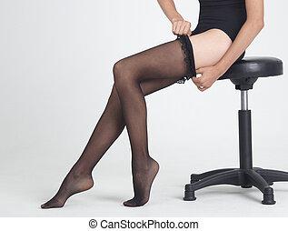 bas, jambes, femme